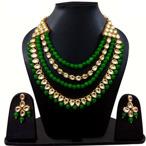 Designer Necklace Set Red Moti Stone and Kundan Work