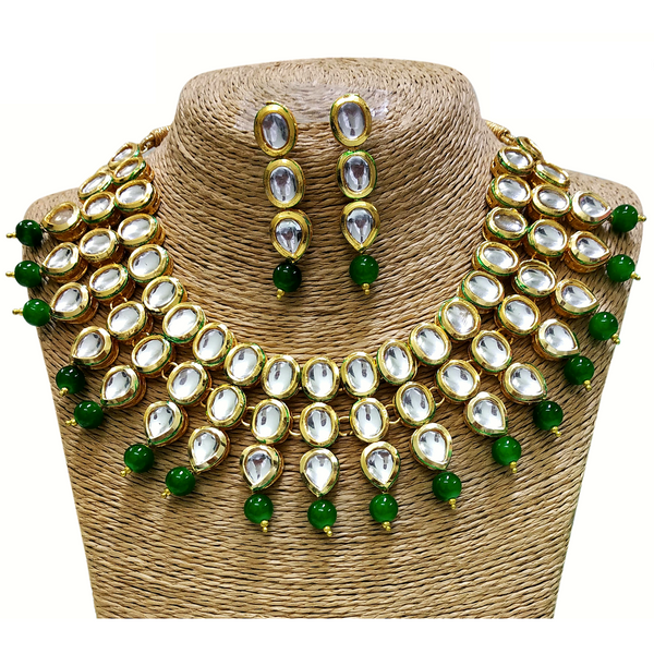 Kundan Look - Necklace Set in Golden - Green