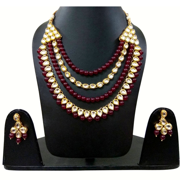 White Moti Stone and Golden Kundan Look - Necklace Set