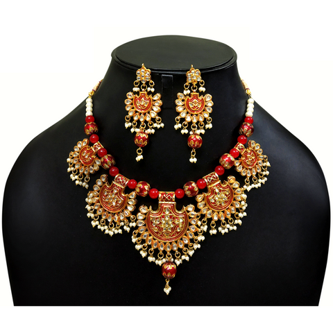 Red Kundan and Moti - Choker Necklace Set in Golden - Red
