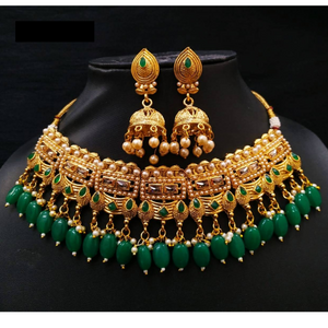 Choker Necklace Set Golden Green