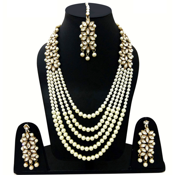 Kundan Look - Necklace Set with Moti Stone Mala