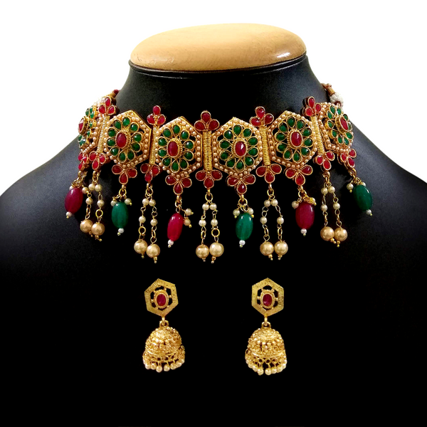 Green Choker Necklace Set with Golden Metal, Kundan and Moti Stone Work - Golden Green