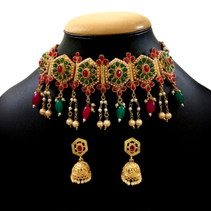 Green'n'Red Choker Necklace Set with Golden Metal, Kundan and Moti Stone Work