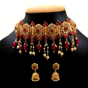 Red Choker Necklace Set with Golden Metal, Kundan and Moti Stone Work - Golden Red