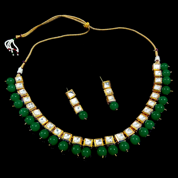 Green Moti Stone and Golden Kundan Look - Necklace Set