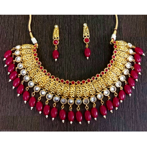 Red Choker Necklace Set Golden Red
