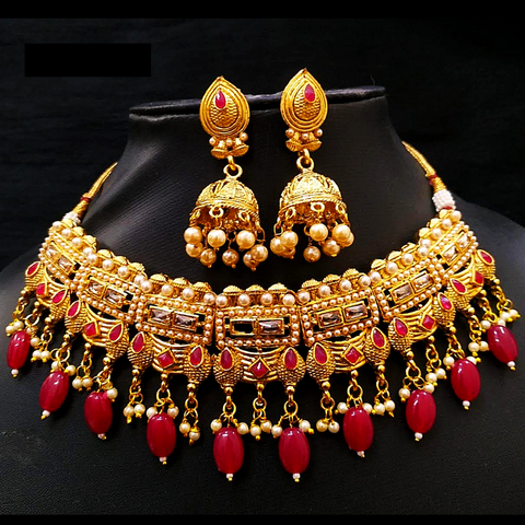 Choker Necklace Set Golden Red