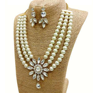 Kundan and Moti Stone Look - Necklace Set in Golden - White