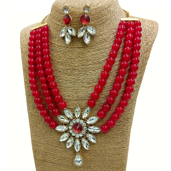 Kundan and Moti Stone Look - Necklace Set in Golden - Firozi