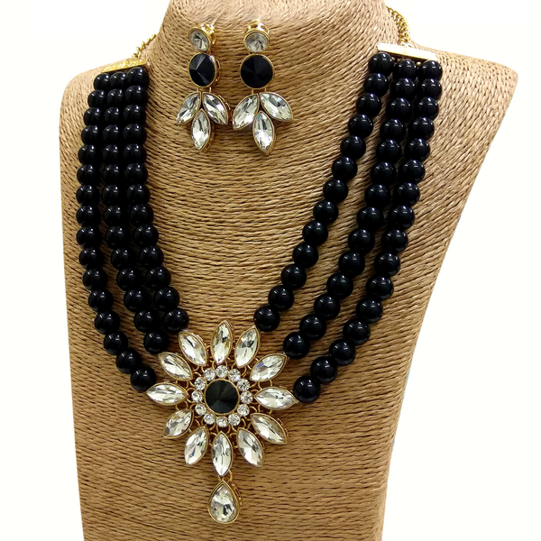Kundan and Moti Stone Look - Necklace Set in Golden - Red