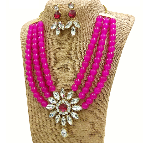 Kundan and Moti Stone Look - Necklace Set in Golden - Black