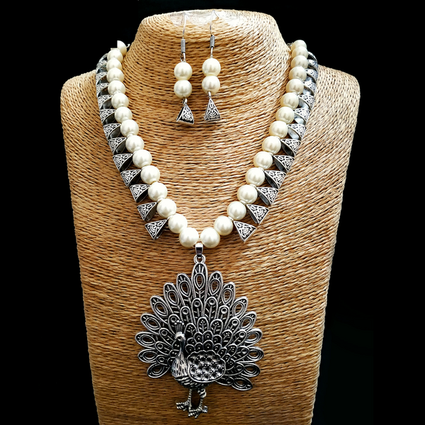 Blue Antique Moti Mala with heavy silver Peacock Pendant Necklace Set
