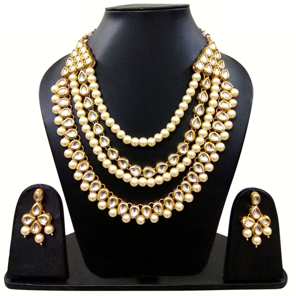 Navy Blue Moti Stone and Golden Kundan Look - Necklace Set