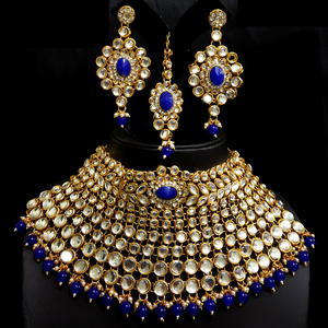 Kundan Look - Necklace Set in Golden - Blue
