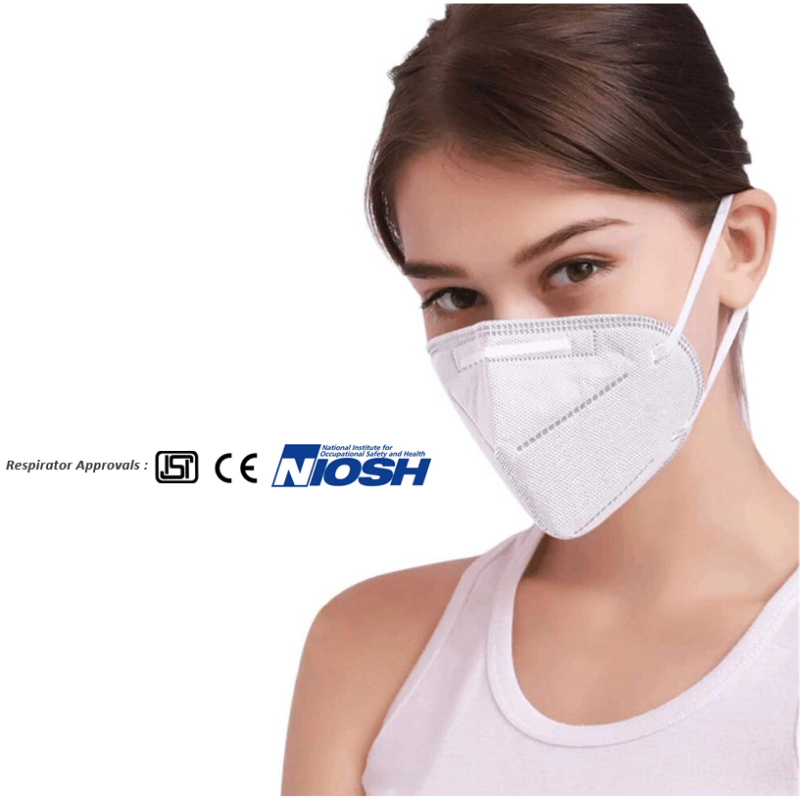 Certified N95 Respirators Face Mask Pack of 5/10 Pcs.