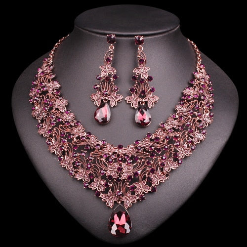 Crystal Stone Luxury Jewellery Necklace Earrings Set Bridal Jewelry Set for Women in 5 Colors