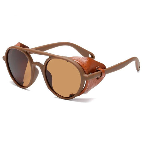 Designer Steampunk Sunglasses With Leather Side Shields Style Round Sun glasses UV400