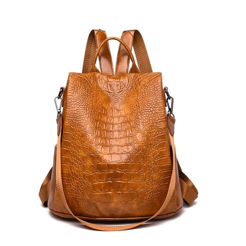 Vintage soft Leather Bag Women Backpack For Girls Large Capacity