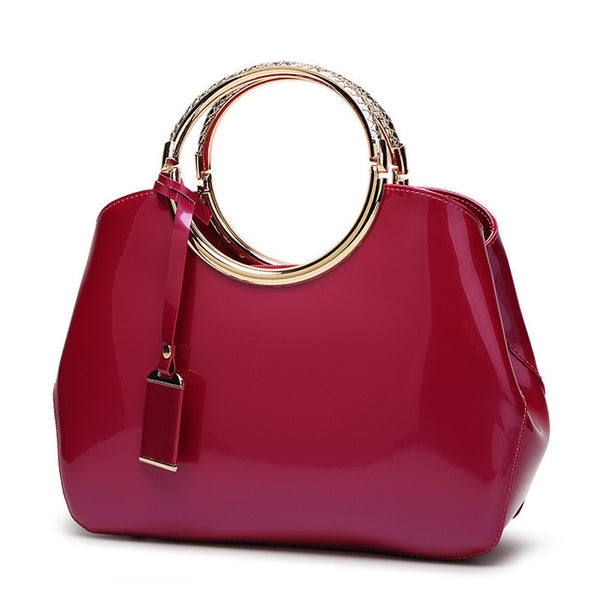 Trapeze Vintage Style Women's Handbags Patent Leather 7 Colors