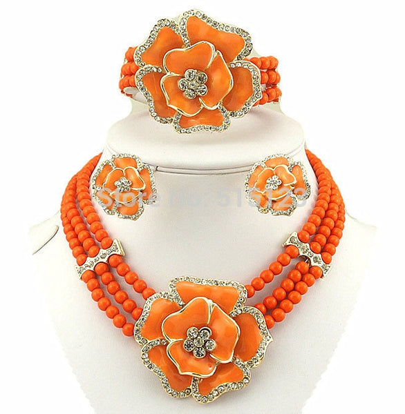Crystal Stone Bridal Necklace Jewelry Sets in 10 Colors