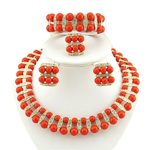 Bridal Jewelry Sets made with African Beads in 12 Colors