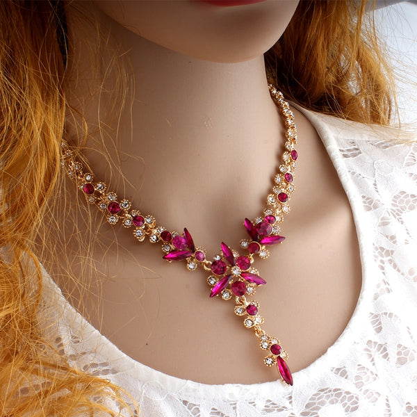 New Designer Crystal Jewelry Set with Necklace Long Earrings in 5 Colors