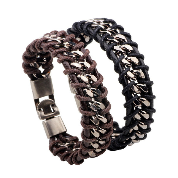 Steel and Genuine Leather Braided Chain Men Bracelet - 2 Colors
