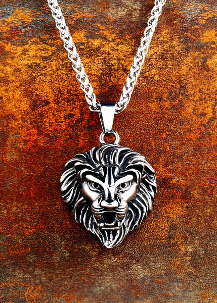 Stainless Steel Viking Lion head Pendant Men Necklace