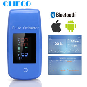 Portable Finger Pulse Oximeter with Bluetooth and Mobile App Data Record and Save Blood Oxygen Meter