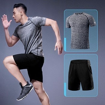 Men Sportswear Two Pieces Tracksuit Breathable Quick Dry Gym Clothing Jogging Fitness Running Clothes Set
