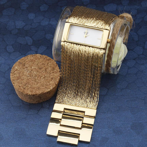 Golden Luxury Bracelet Wristwatch Rectangle Case Broad Tassel Steel Chain Strap - 4 Colors