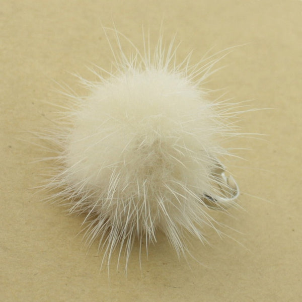 Mink Fur Ball Ring 24 Colors Style