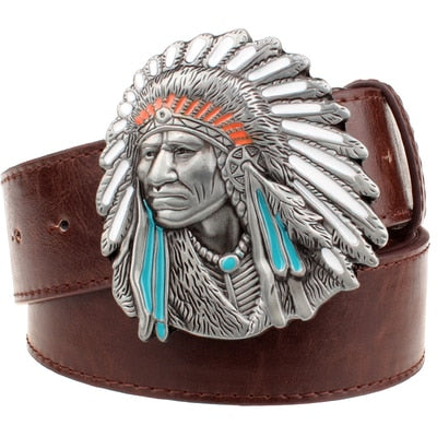 Designer Genuine Leather Belt with indian chief head designer Buckle - 6 Colors
