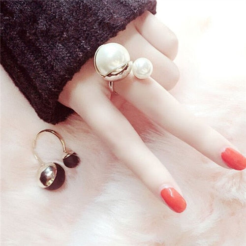 Gold Plated Elegant Simulated Pearl Jewelry Open Ring - 2 Colors