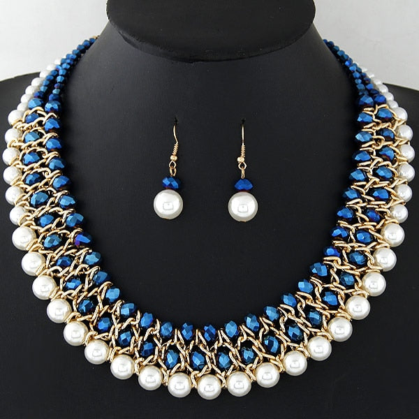 Imitation Pearl Jewelry Set African Beads Gold Color Multilayer Necklace Earrings Set