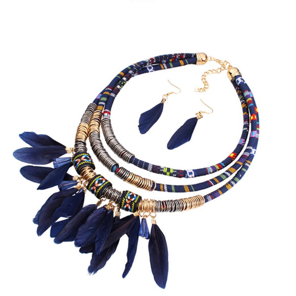 Necklace Set African Style Feather Tassel Multilayer