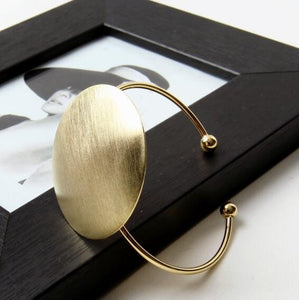 Brushed Golden Big Round Cuff Bangle Bracelet