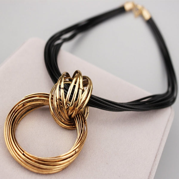 Multilayer Leather Rope Necklace Choker with Pendant - Gold and Silver Color