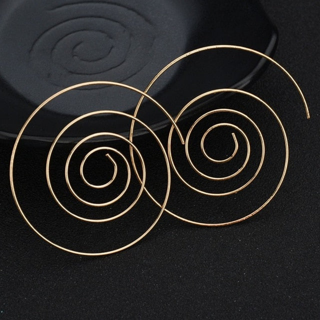 Exclusive Spiral Stud Earrings Round Simple Style