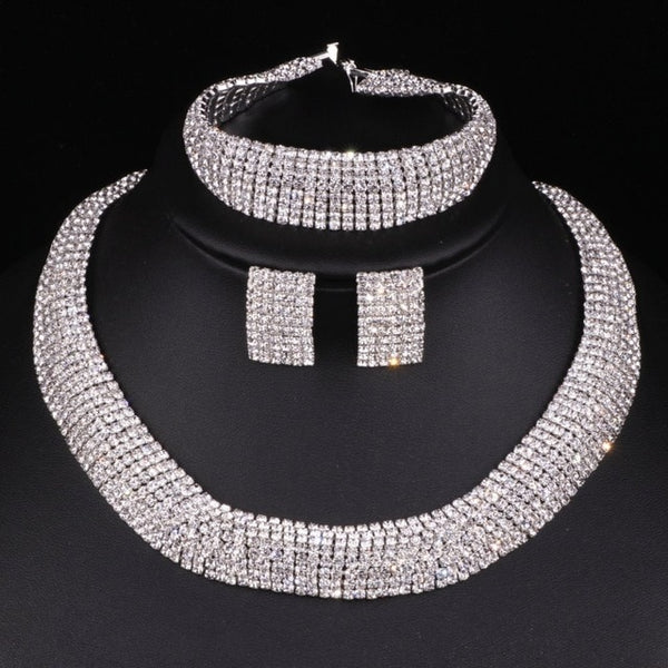 Luxury Jewelry Sets Silver Color Crystal Round Necklace Earrings Bracelets Sets