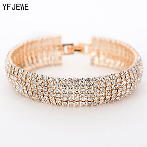 Luxury Crystal Bracelets in Gold and Silver Plated