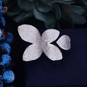 Luxury Flower Leaf Design with Zircon Ring Glittery
