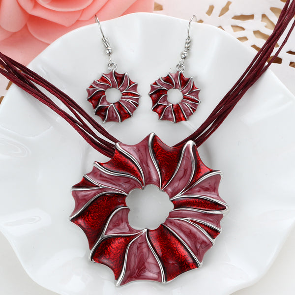 Multi Layer Flower Design Necklace Earrings Jewelry Set in 4 Color