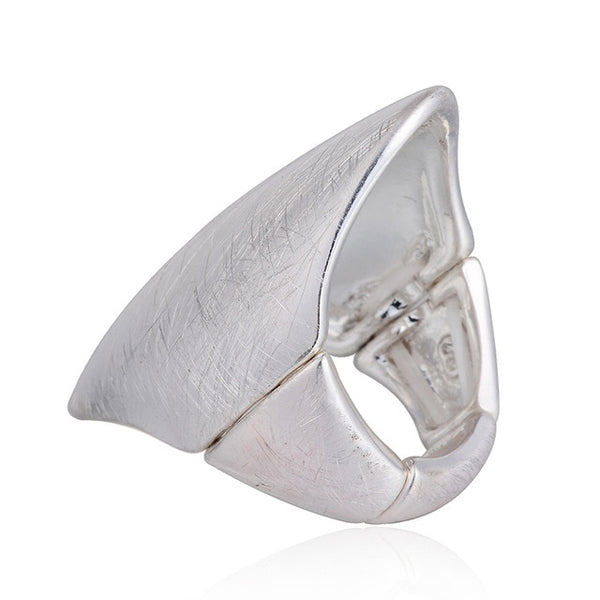 Punk Style Unisex Golden and Silver Oval Ring Adjustable Size for All - 2 Colors