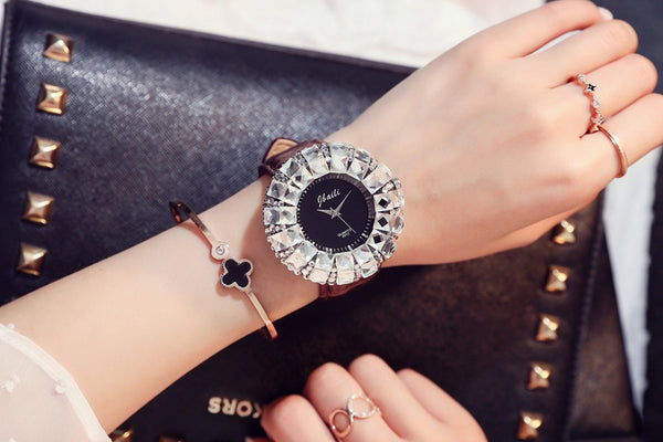 Women Big Dial Watch White Drill Crystal Stones Leather Strap - 4 Colors