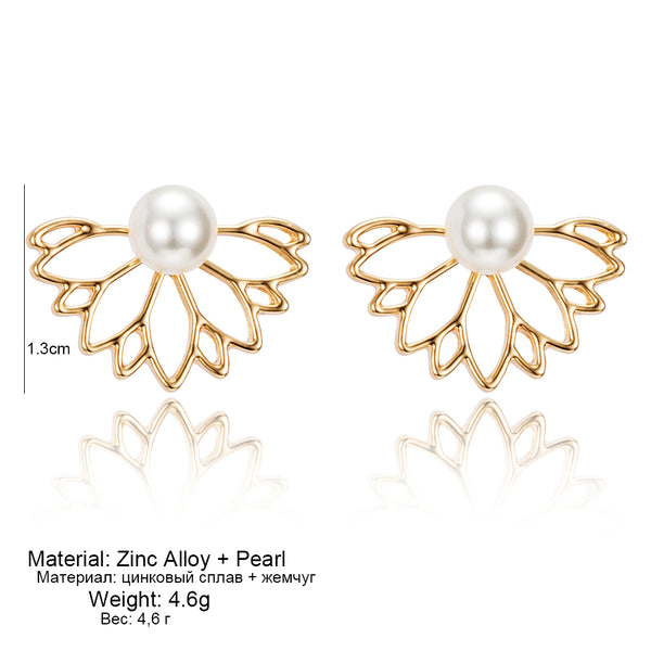 Exclusive Double Sided Pearl Lotus Earrings Flower Stud Earrings Gold Silver Plated