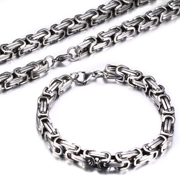 Men Necklace and Bracelet Jewelry Set Thick and Heavy Stainless Steel Metal - 5 Colors