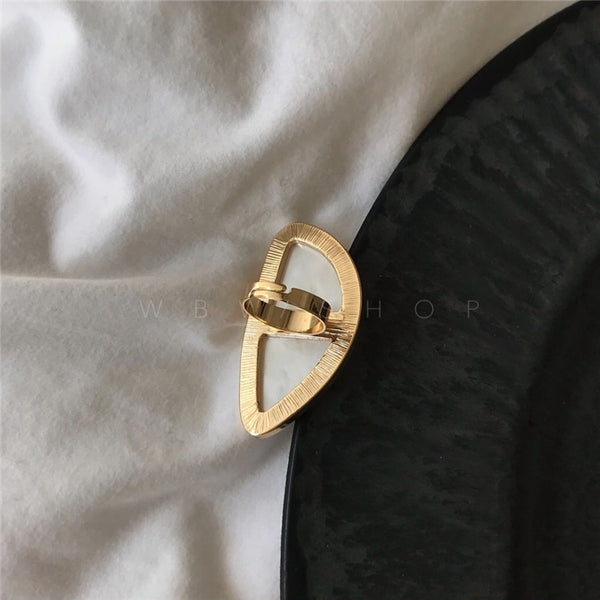 Designer White Resin Geo Style Cocktail Ring - Golden