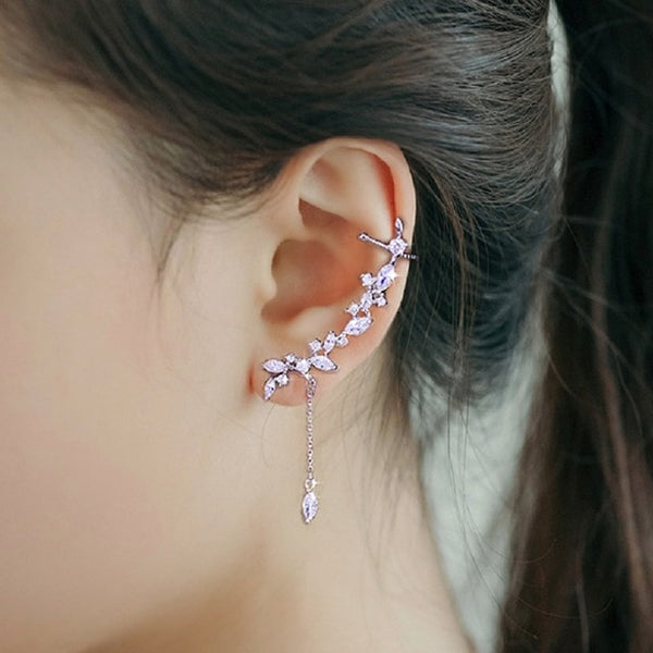 Zercon Crystal Clip Stud Earrings Elegant Long Earrings